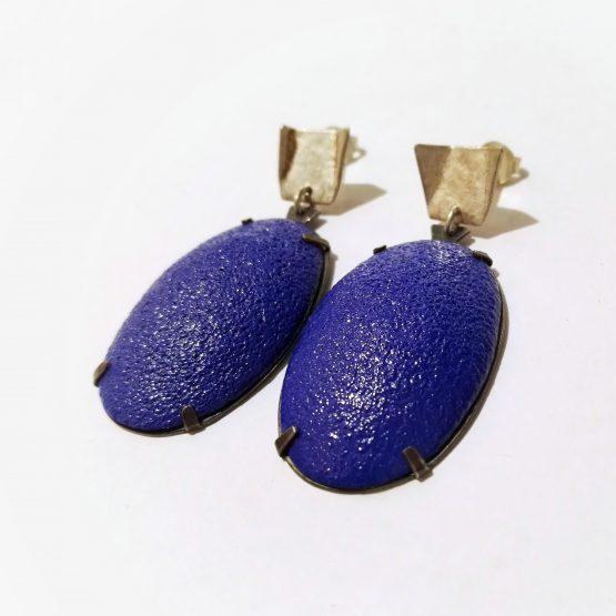 Pendientes Oval Azul